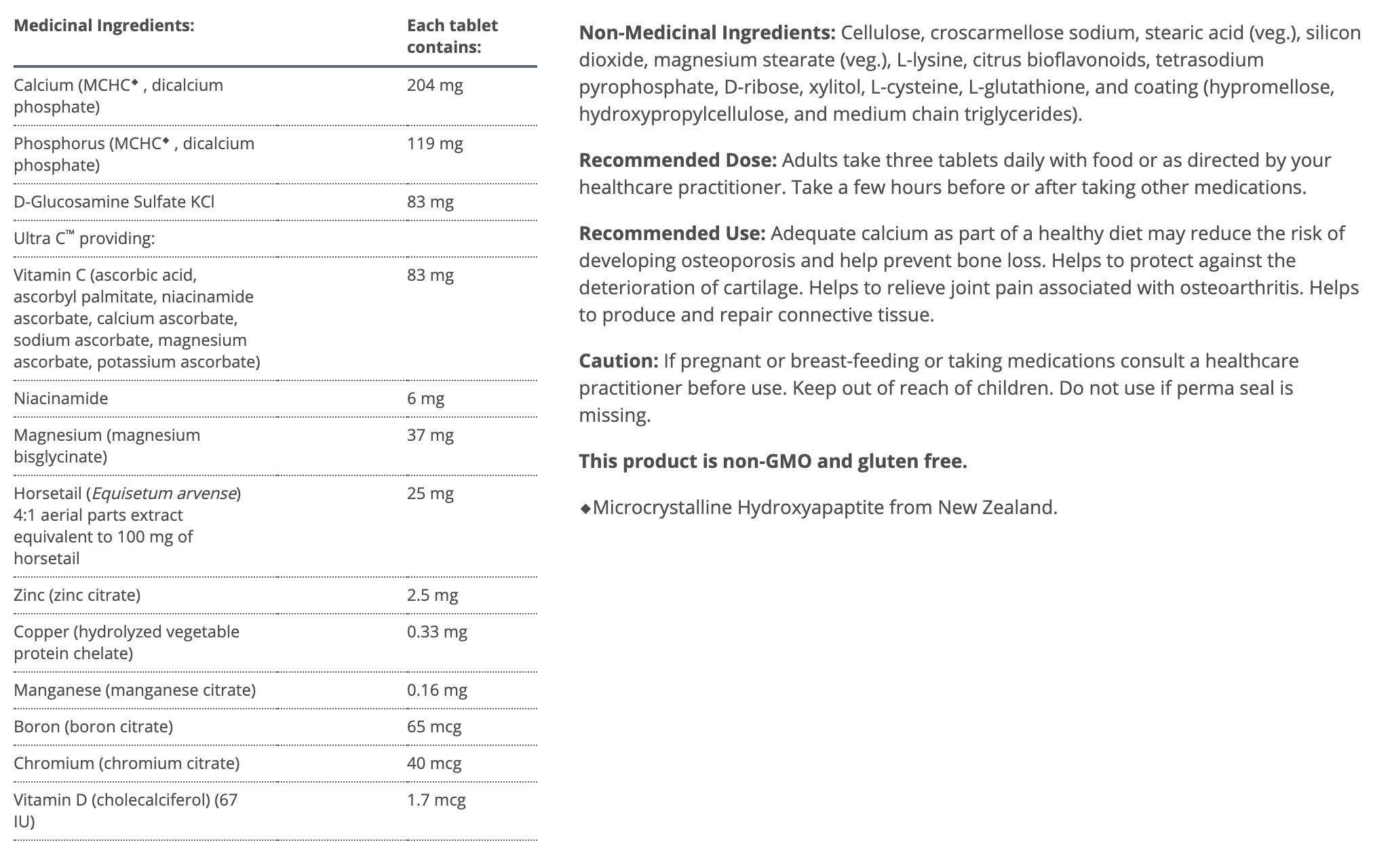 Metagenics Bone Builder Active Canada ingredients