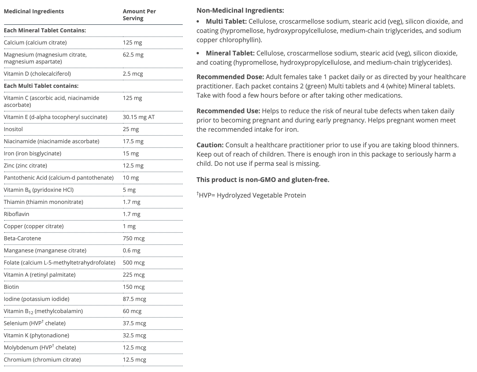 Metagenics Fem Prenatal 30 Packets Canada Ingredients