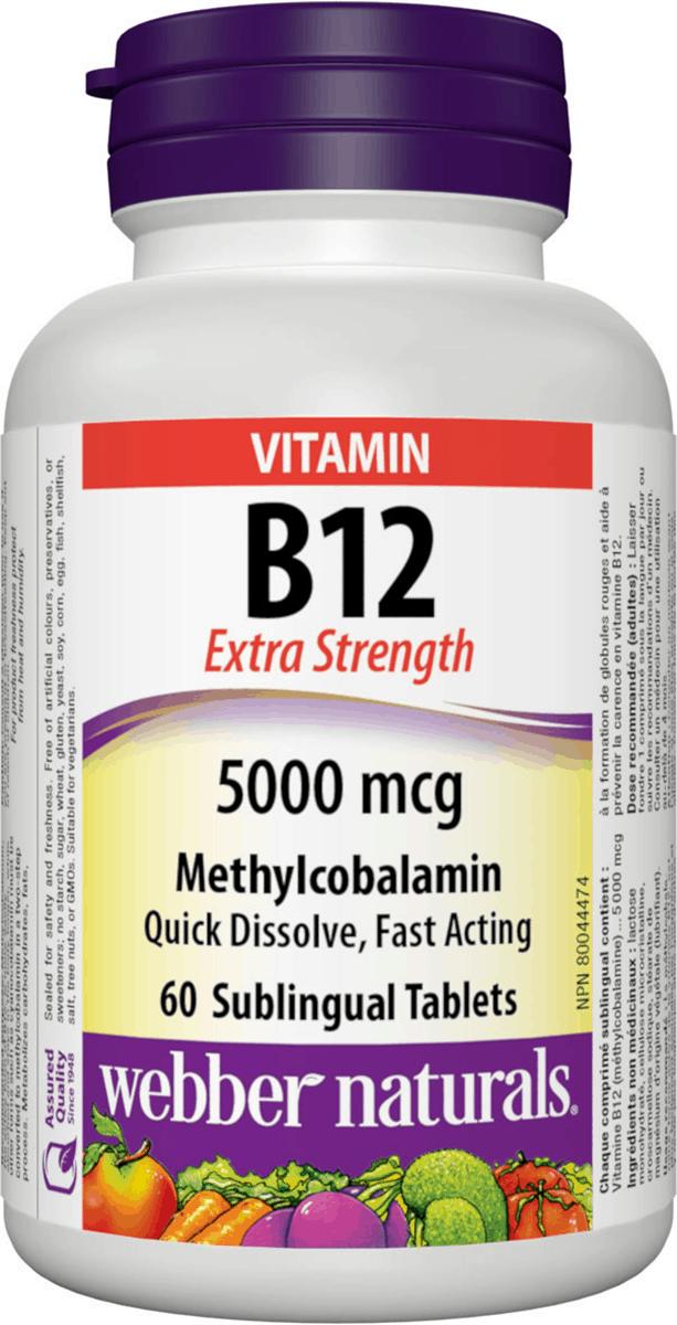 Webber Naturals Vitamin B12 60 Tablets Canada