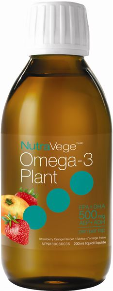 NutraVege™ Omega-3, Plant Based, Strawberry Orange | 200 ml liquid