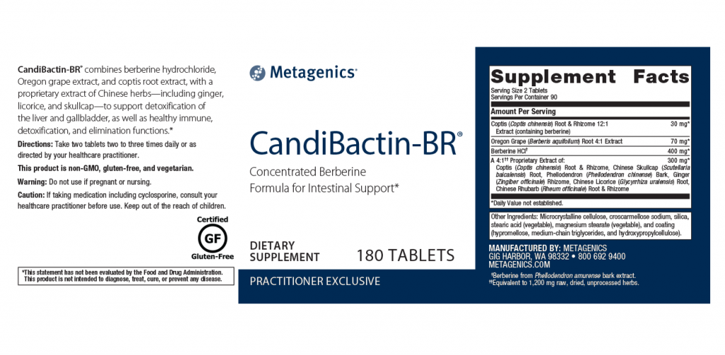Metagenics Candibactin BR Canada - 180 Tablets - Ingredients