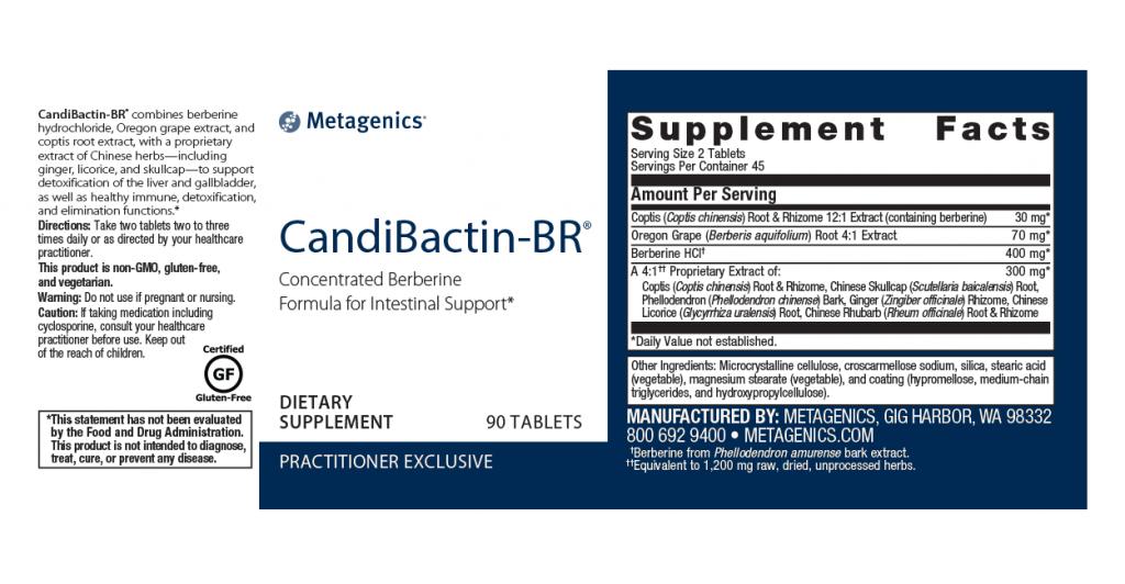 Metagenics Candibactin BR Canada - 90 Tablets - Ingredients - InnerGood.ca