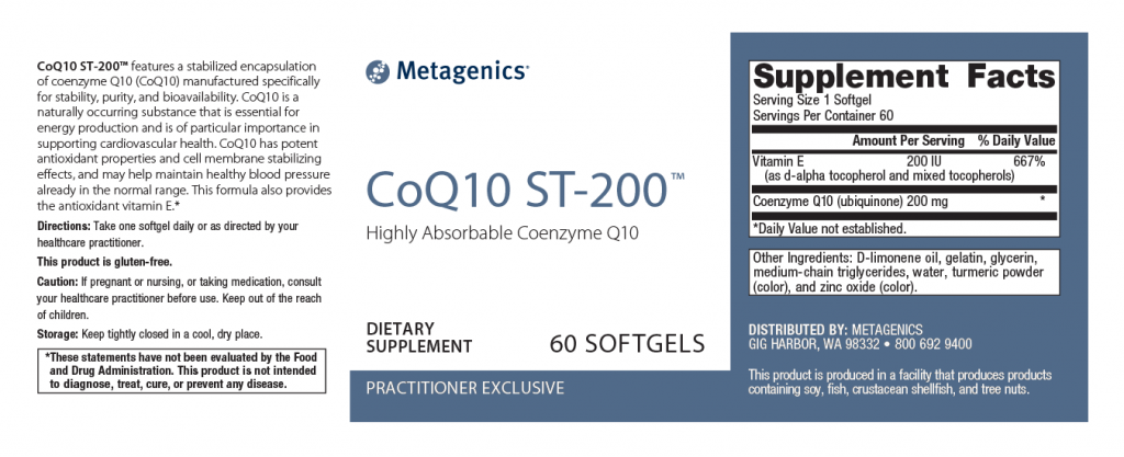 Metagenics CoQ10 ST- 200 Canada | Ingredients