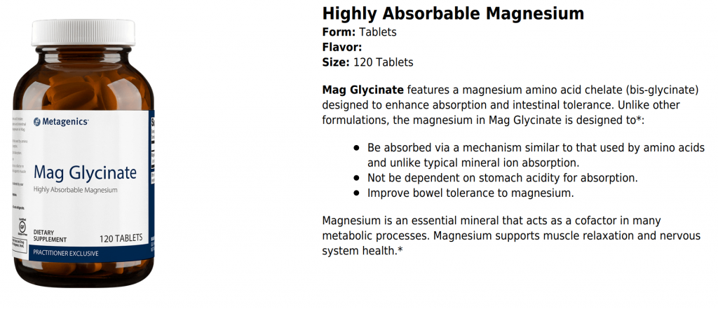 metagenics mag glycinate canada - highly absorbable magnesium by metagenics