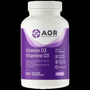 AOR Vitamin D3 | 120 Vegi-Caps | InnerGood.ca | Canada