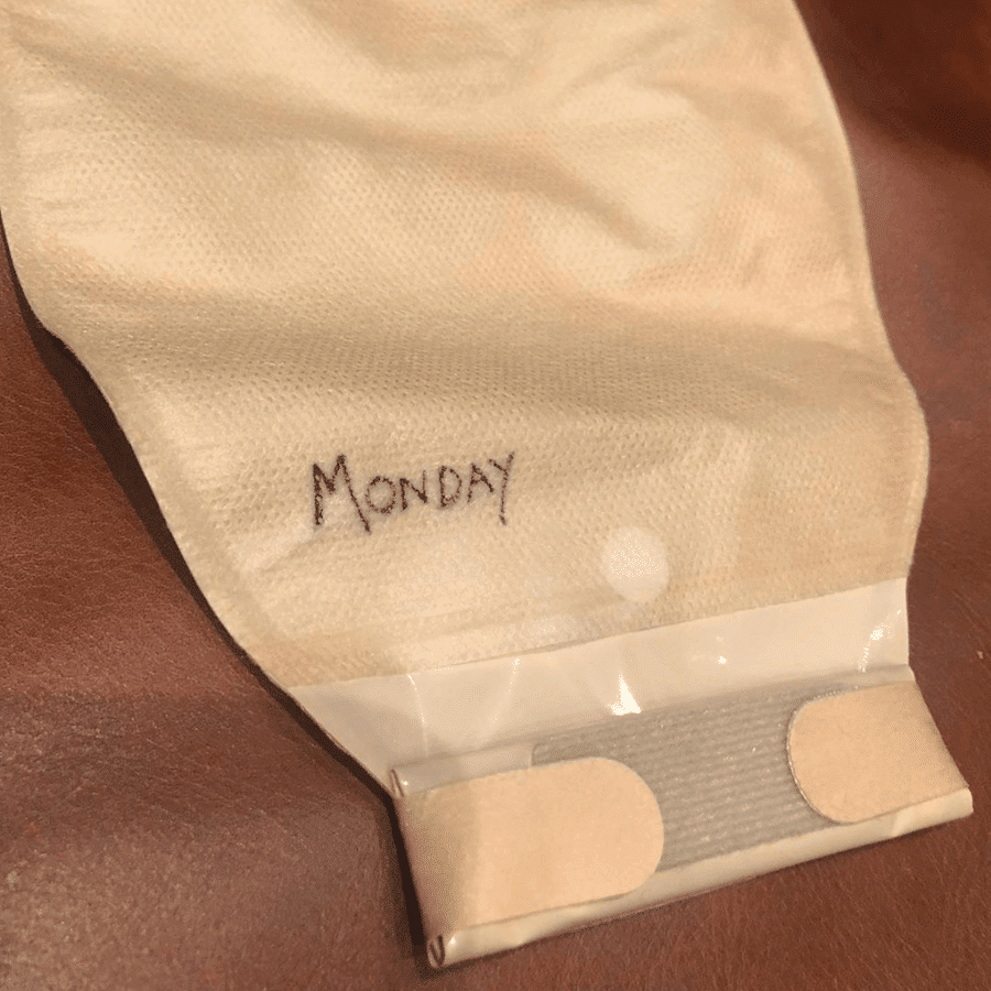 ostomy bag wear time tips - write the day of the week on your bag