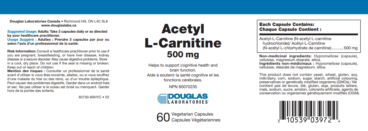 Douglas Labs Acetyl L-Carnitine | 60 Capsules | InnerGood.ca | Canada