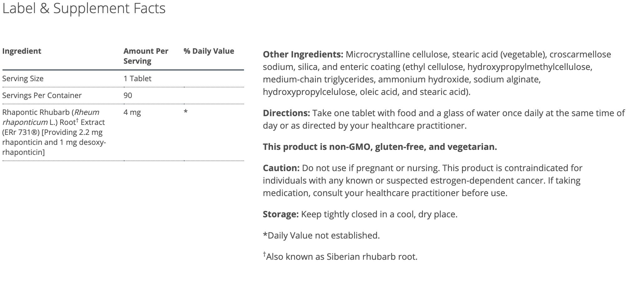 estrovera 90 tablets by metagenics canada ingredients